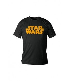 CAMISETA NEGRA CHICO XL STAR WARS LOGO NARANJA